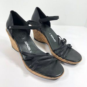 Teva Riviera Strappy Wedge Sandals Black Leather